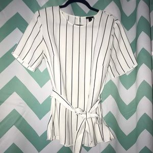 Ann Taylor White and Black Striped Blouse